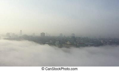 ville, aérien, fog., vue