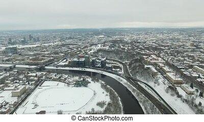 ville, aérien, hiver, sur, rivière, 2, vue