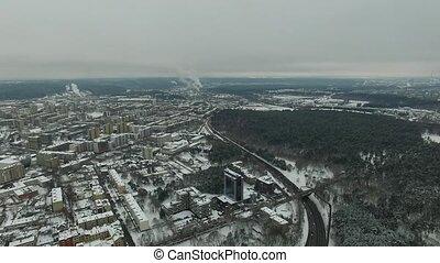 ville, aérien, hiver, sur, rivière, 6, vue