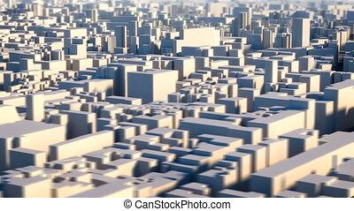 ville, aérien, loopable, vue