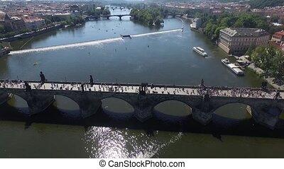 ville, aérien, pont, prague, rivière, sur, vue