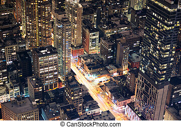 ville, aérien, rue, york, nuit, nouveau, manhattan, vue