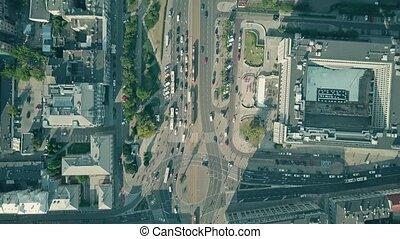 ville, aérien, sommet, bas, trafic, vue