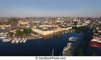 ville, aérien, stockholm, vue