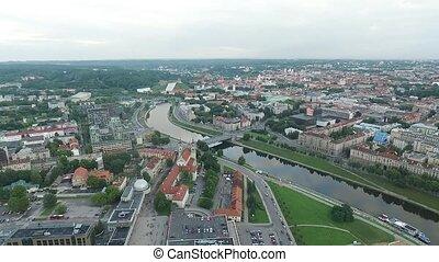 ville, aérien, sur, 5, rivière, vue