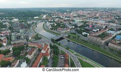 ville, aérien, sur, 6, rivière, vue
