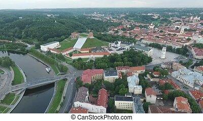 ville, aérien, sur, 8, rivière, vue