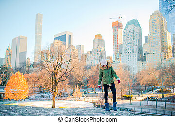 ville, adorable, nouveau, girl, central, york, parc