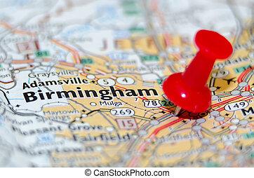 ville, alabama, birmingham, épingle, carte