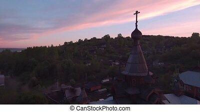 ville, ancien, aérien, bois, temple, 4k, église, petit, chrétien, vue, style., sunset.