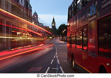 ville, angleterre, autobus, grand, londres, ben, aube
