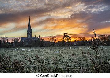 ville, angleterre, paysage hiver, cathédrale salisbury, levers de soleil, glacial