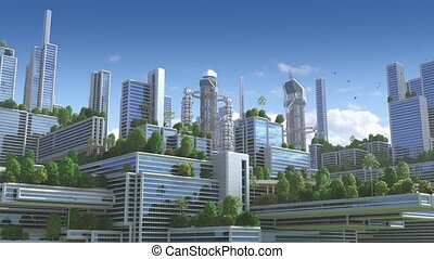 "ville, animation, ""green"", futuriste, 3d"