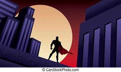 ville, animation, superhero, nuit