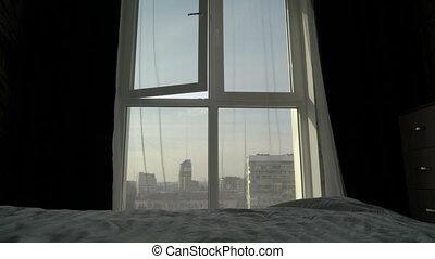 ville, appartement, monter, matin, élevé, fenêtre, chambre à coucher, vue