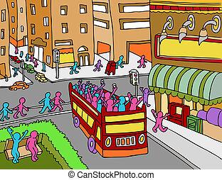 ville, autobus tournée