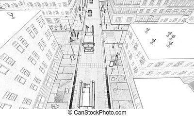 ville, bâtiment, petit, concept, dessin