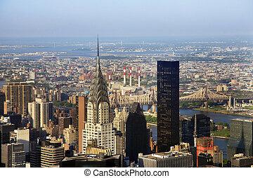 ville, bâtiment., york, nouveau, chrysler