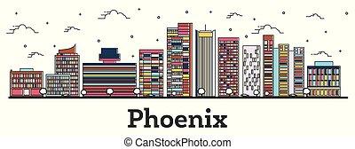 ville, bâtiments, arizona, contour, couleur phénix, isolé, horizon, white.