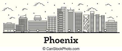 ville, bâtiments, arizona, contour, phénix, moderne, isolé, horizon, white.