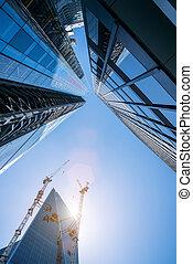 ville, bâtiments, bureau, grues, moderne, construction, londres, gratte-ciel, machinerie