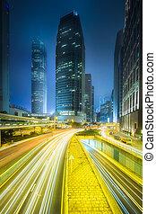 ville, bâtiments, bureau, hong kong, rue, vue