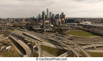 ville, bâtiments, en ville, aérien, dallas, routes, horizon, texas