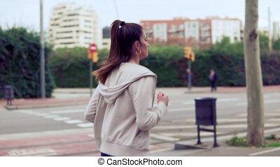 ville, bâtiments, fonctionnement femme, rue, fond
