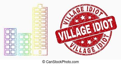 ville, bâtiments, grunge, idiot, spectre, timbre, vecteur, pixelated, village, icône