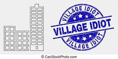 ville, bâtiments, grunge, pointillé, idiot, timbre, vecteur, village, icône