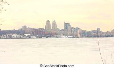 ville, bâtiments, hiver, panorama, hiver, rivière, métropole, grand, rivière