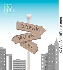ville, bâtiments, métaphore, decision., grand, faire, travail, sur, guidepost, quelque chose, vector., rêve