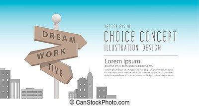 ville, bâtiments, métaphore, decision., grand, faire, travail, sur, guidepost, quelque chose, vector., bannière, rêve