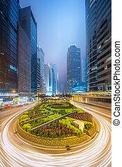ville, bâtiments, moderne, bureau, kong, rues, hong, china.