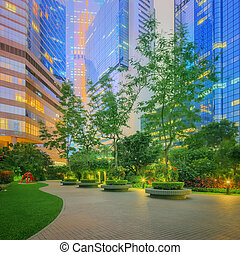 ville, bâtiments, moderne, bureau, rues, hong kong