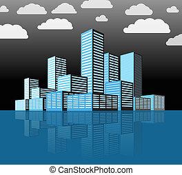 ville, bâtiments, moderne, district., perspective