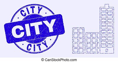 ville bâtiments, mosaïque, timbre, bleu, cachet, grunge