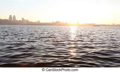 ville, bâtiments, panorama, rivière, grand, rivière