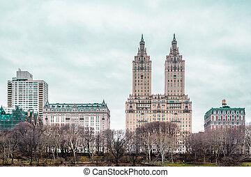 ville, bâtiments, parc central, york, nouveau, manhattan