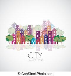 ville, bâtiments, silhouettes