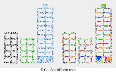 ville, bâtiments, triangle, articles, vecteur, mosaïque, icône