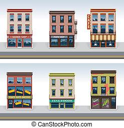ville, bâtiments, vecteur, ensemble, icône