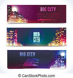 ville, bannières horizontales, nuit