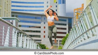 ville, beau, ballerine, pratiquer, 4k, danse, pont, jeune