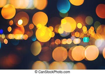 ville, bokeh, phare, feux circulation