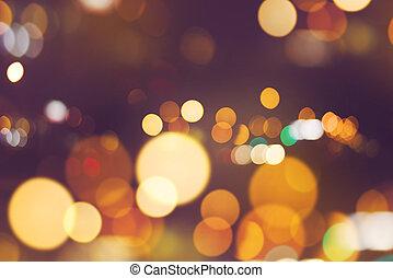 ville, bokeh, phares, feu circulation