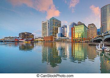 ville, boston, horizon, usa, en ville