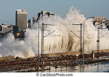 ville, côtier, orage, vagues