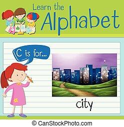 ville, c, lettre, flashcard