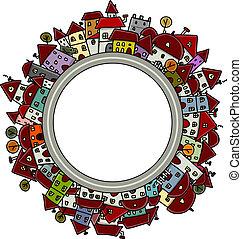 ville, cadre, conception, ton, croquis